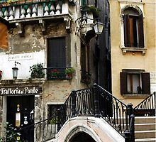 Bridge to the trattoria, Venice,Italy by curiouskristih