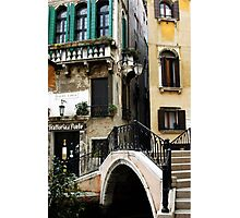 Bridge to the trattoria, Venice,Italy Photographic Print
