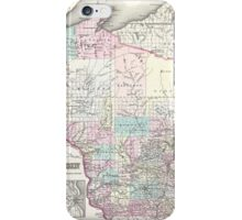 Vintage Map of Wisconsin (1855) iPhone Case/Skin