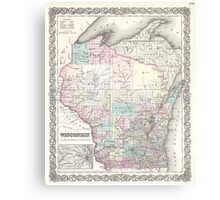 Vintage Map of Wisconsin (1855) Canvas Print