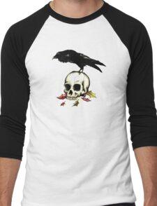 Raven Skull Poe Gothic Crow Men's Baseball ¾ T-Shirt