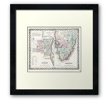 Vintage Map of Savannah and Charleston (1855)  Framed Print