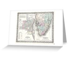 Vintage Map of Savannah and Charleston (1855)  Greeting Card
