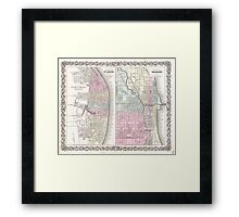 Vintage Map of Chicago and St. Louis (1855)  Framed Print