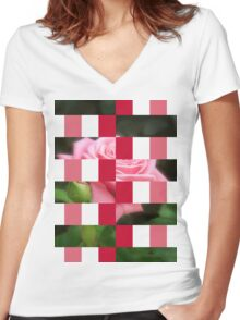 Pink Roses in Anzures 3 Art Rectangles 15 Women's Fitted V-Neck T-Shirt