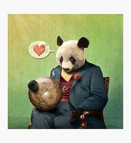 Wise Panda: Love Makes the World Go Around! Photographic Print