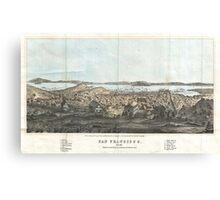 Vintage Pictorial Map of San Francisco (1854)  Canvas Print