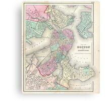 Vintage Map of Boston Harbor (1857) Metal Print