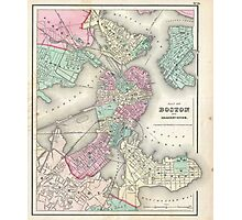 Vintage Map of Boston Harbor (1857) Photographic Print