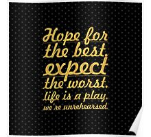 "Hope for the best...""Mel Brooks"" Life Inspirational Quote Poster"