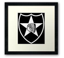 2nd Infantry white stencil Framed Print