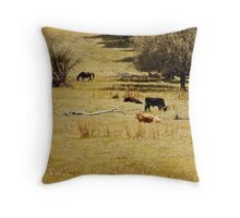 Lounging cows Throw Pillow
