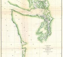 Vintage Map of Coastal Washington State (1857) by BravuraMedia