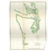 Vintage Map of Coastal Washington State (1857) Poster