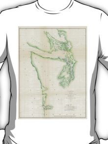 Vintage Map of Coastal Washington State (1857) T-Shirt