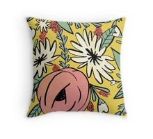 Dusty Rose Flower Garden Throw Pillow