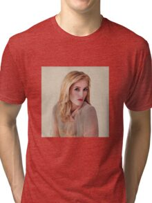 Gillian Anderson oil color painting  Tri-blend T-Shirt