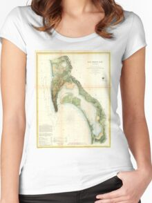 Vintage Map of The San Diego Bay (1857) Women's Fitted Scoop T-Shirt
