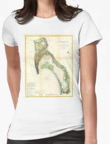 Vintage Map of The San Diego Bay (1857) Womens Fitted T-Shirt