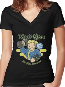 Fallout - Vault Gym Women's Fitted V-Neck T-Shirt