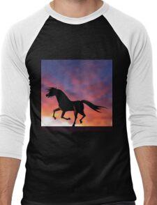 Horse silhouette galloping at sunrise or sunset Men's Baseball ¾ T-Shirt
