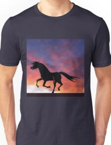 Horse silhouette galloping at sunrise or sunset Unisex T-Shirt
