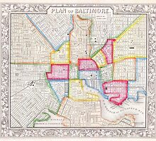 Vintage Map of Downtown Baltimore (1860) by BravuraMedia