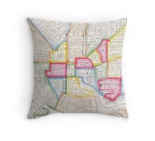 Vintage Map of Downtown Baltimore (1860) Throw Pillow