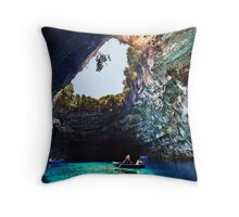 Boat ride in Melissani cave-lake Throw Pillow