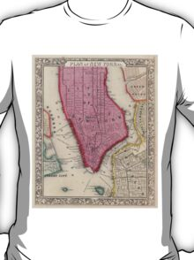 Vintage Map of Lower New York City (1860) T-Shirt