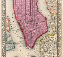 Vintage Map of Lower New York City (1860) by BravuraMedia