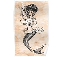 Sailors Ruin, Vintage mermaid tattoo style Poster