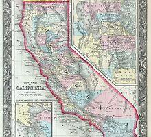 Vintage Map of California (1860) by BravuraMedia