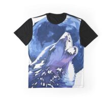 Wolves Howling Blue Moon Graphic T-Shirt