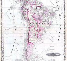 Vintage Map of South America (1861) by BravuraMedia