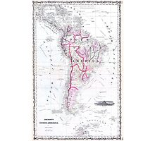 Vintage Map of South America (1861) Photographic Print
