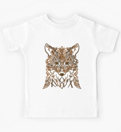 Ornamental tribal style fox silhouette Kids Tee