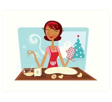 Christmas woman baking cookies in retro kitchen Art Print