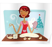 Christmas woman baking cookies in retro kitchen Poster