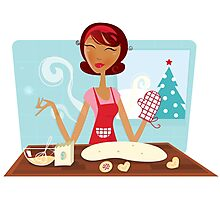 Christmas woman baking cookies in retro kitchen Photographic Print