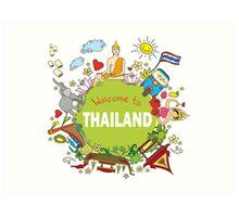 Welcome to Thailand . Set Thai elements. Art Print