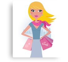 Shopping in the city: Blond shopper girl with pink bags Canvas Print