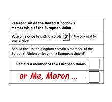 Brexit, EU ballot paper..the moronic majority wins Photographic Print