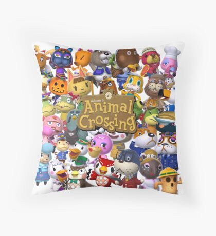 Animal Crossing Collage Throw Pillow