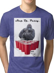 Harambe Beer Pong Step Up Tri-blend T-Shirt