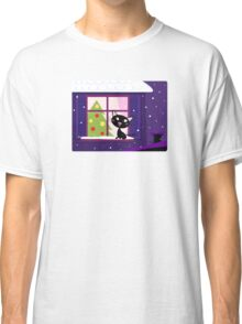 Cat looking through window, christmas tree and xmas snowy night Classic T-Shirt