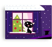 Cat looking through window, christmas tree and xmas snowy night Canvas Print