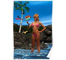 Surf-Birdy-Dawn Poster