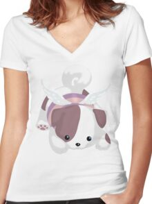 Fluffal Dog - Yu-Gi-Oh! Women's Fitted V-Neck T-Shirt
