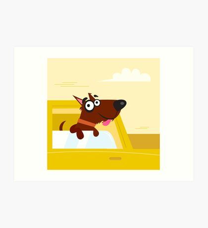 Happy brown dog travel in the car. VECTOR ILLUSTRATION. Art Print